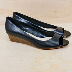 Cole Haan Black Leather Wedge Peep Toe Shoes